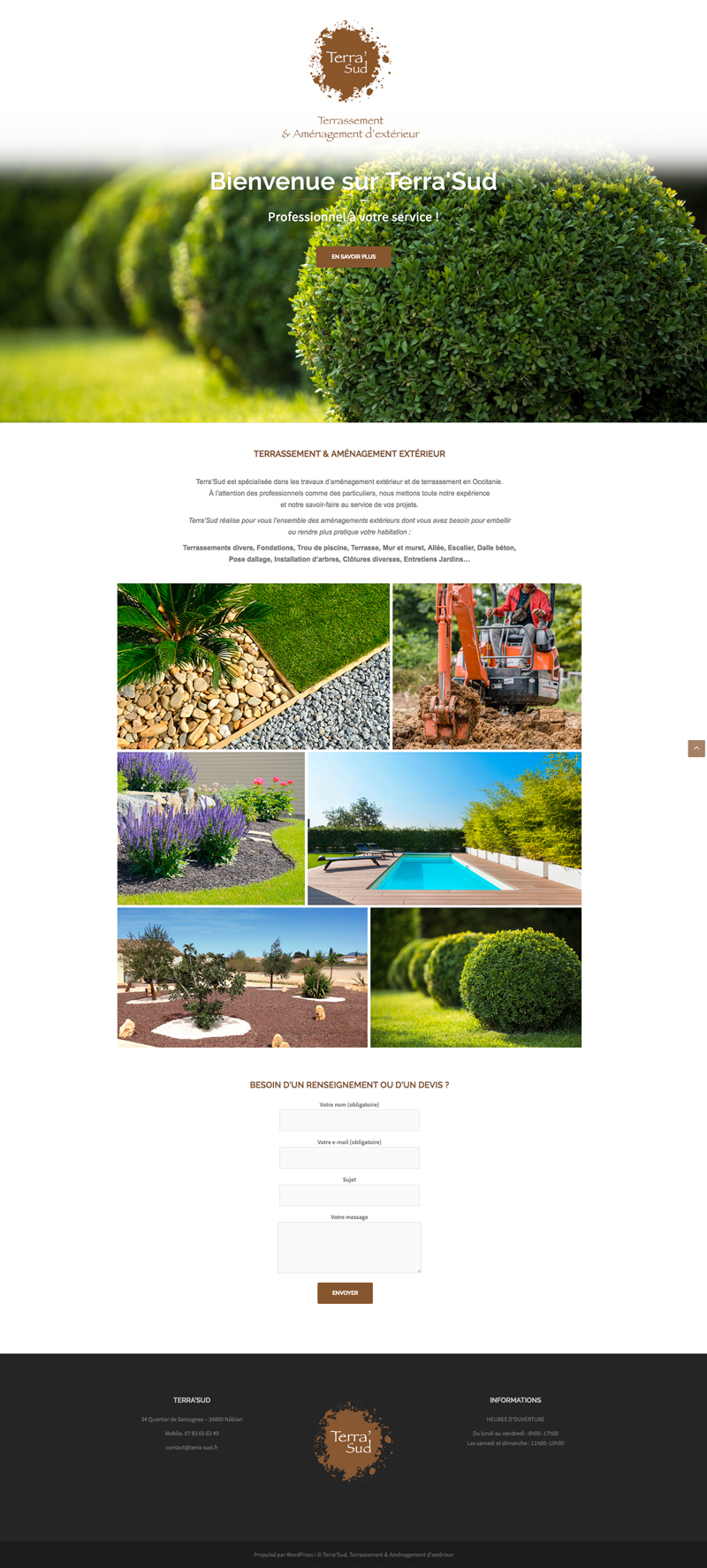 Home Page Site Web, Terra Sud