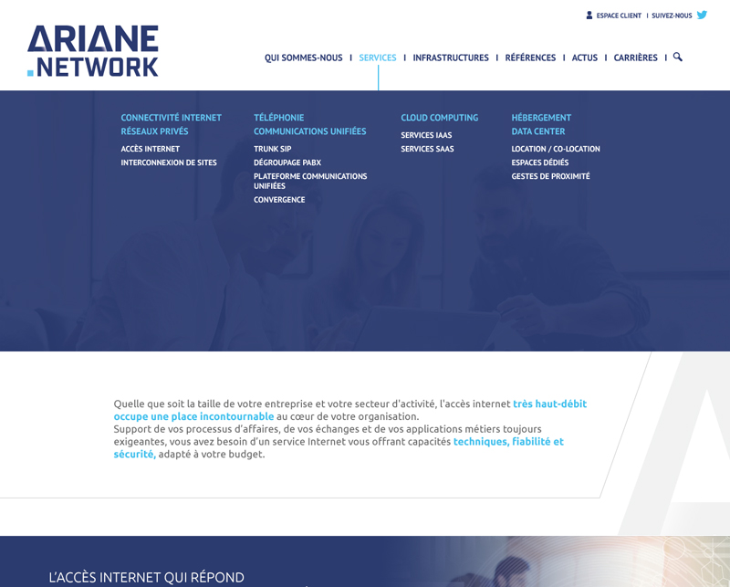 Menu expand du site web, Ariane Network