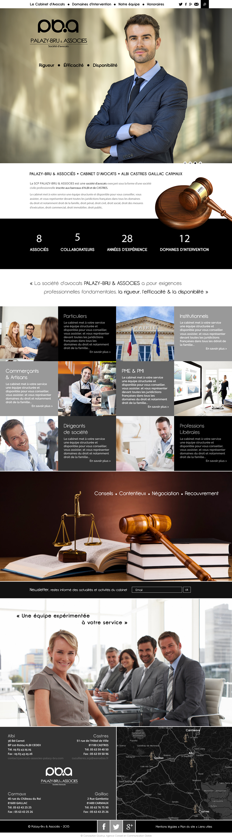 Home page Site Web, Cabinet d'avocats : PALAZY-BRU